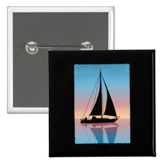 Sails at Sunset Silhouette 2 Inch Square Button