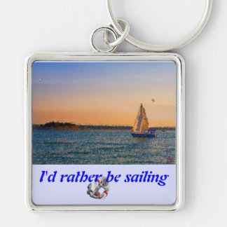Sails In The Sunset Silver-Colored Square Keychain