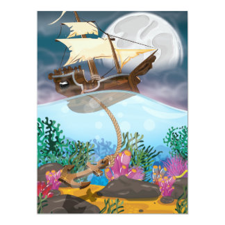 Sails ship dropping anchor card