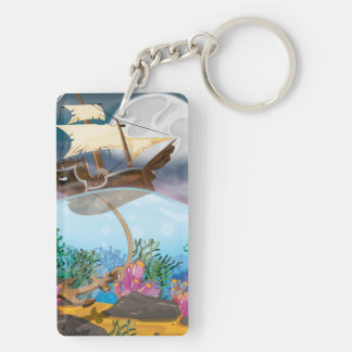 Sails ship dropping anchor Double-Sided rectangular acrylic keychain