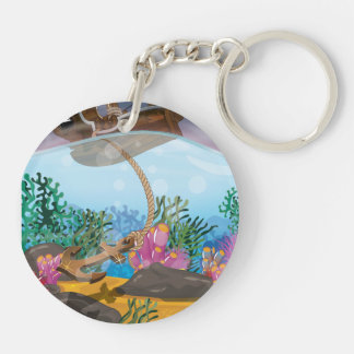 Sails ship dropping anchor Double-Sided round acrylic keychain