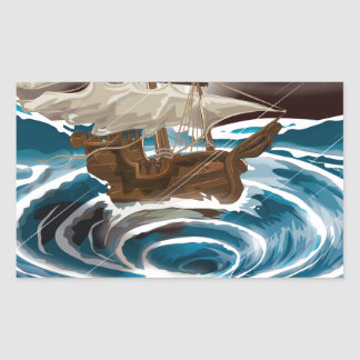 Sailship falling into a Whirlpool in the Sea Rectangular Sticker