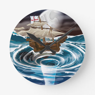 Sailship falling into a Whirlpool in the Sea Round Clock