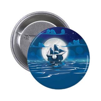 Sailship Voyage under the Moonlight 2 Inch Round Button