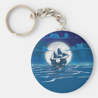Sailship Voyage under the Moonlight Keychain