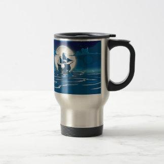 Sailship Voyage under the Moonlight Travel Mug
