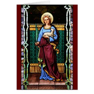 Saint Agnes (Agnes of Rome) - Stained Glass Art Card
