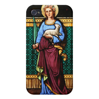 Saint Agnes (Agnes of Rome) - Stained Glass Art iPhone 4/4S Cases