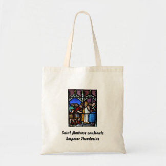 Saint Ambrose confronts Emperor Theodosius Tote Bags