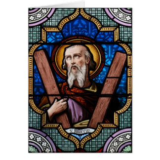 Saint Andrew (Apostle Andrew) Stained Glass Art Greeting Card