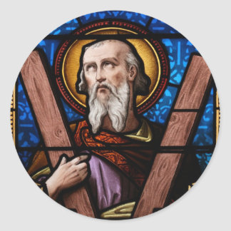 Saint Andrew (Apostle Andrew) Stained Glass Art Classic Round Sticker