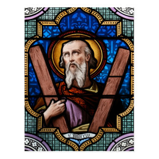 Saint Andrew (Apostle Andrew) Stained Glass Art Postcard
