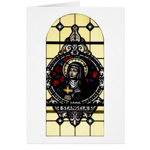 Saint Angela Merici Stained Glass Art Card