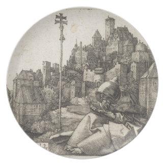 Saint Anthony Engraving by Albrecht Durer Melamine Plate