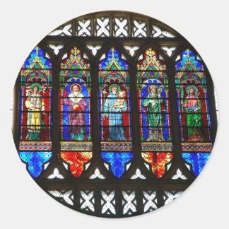 Saint Anthony stained glass windows Classic Round Sticker