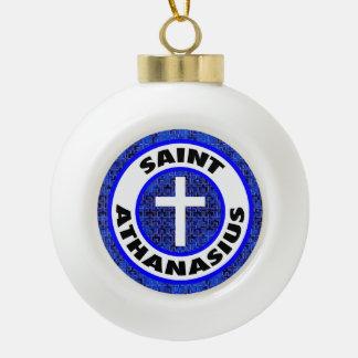 Saint Athanasius Ceramic Ball Christmas Ornament