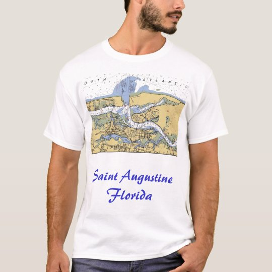 Saint Augustine Florida Nautical Harbor Chart Shir T-Shirt
