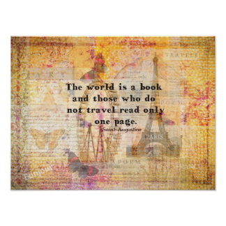 Saint Augustine quotation about travel whimsical Poster