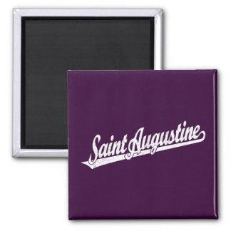 Saint Augustine script logo in white distressed 2 Inch Square Magnet