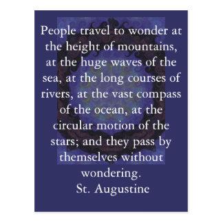 Saint Augustine travel adventure quote Postcard