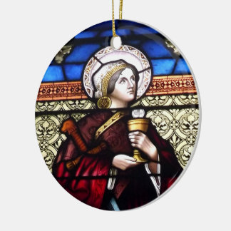 Saint Barbara Stained Glass Window Double-Sided Ceramic Round Christmas Ornament