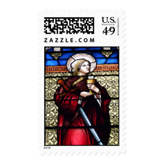 Saint Barbara Stained Glass Window Postage Stamps