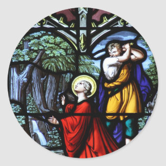 Saint Barbara's Martyrdom Stained Glass Art Classic Round Sticker