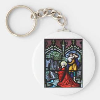 Saint Barbara's Martyrdom Stained Glass Art Keychain