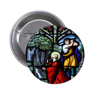 Saint Barbara's Martyrdom Stained Glass Art Pinback Button