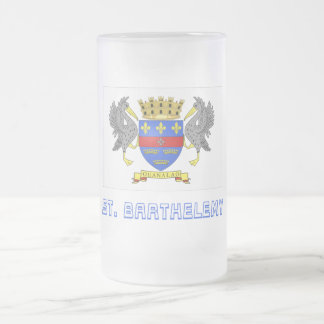 Saint Barthelemy Flag with Name Frosted Glass Beer Mug
