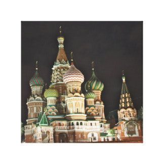 Saint Basil's Catherdral at Night, Moscow Stretched Canvas Prints