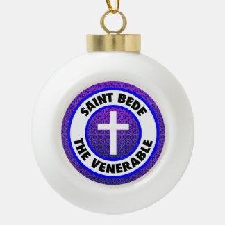 Saint Bede the Venerable Ceramic Ball Christmas Ornament