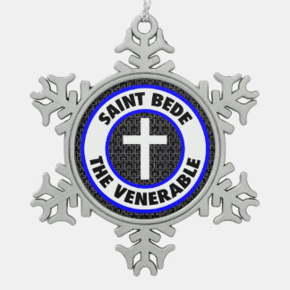 Saint Bede the Venerable Snowflake Pewter Christmas Ornament