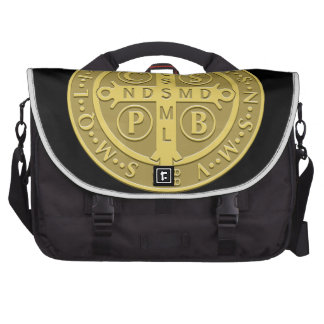 Saint Benedict Cross Medal in Gold Bags For Laptop