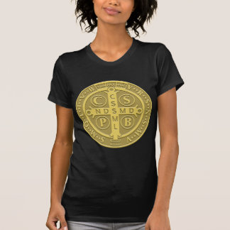 Saint Benedict Cross Medal in Gold T-Shirt