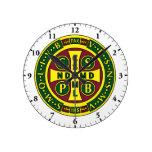 Saint Benedict Medal Cross Wall Clock