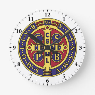 Saint Benedict Medal Cross Wall Clock