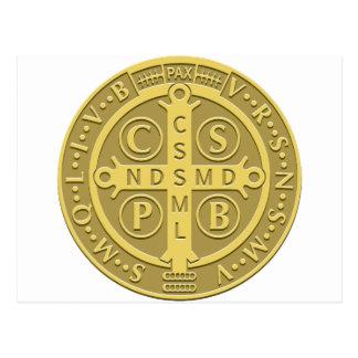 Saint Benedict Medal Gold Postcard