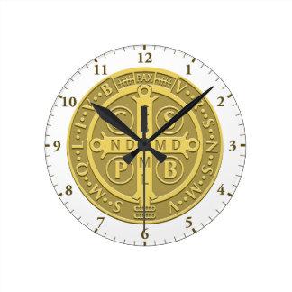 Saint Benedict Medal Gold Round Clock