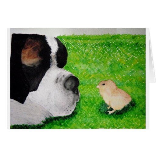Saint Bernard and Baby Chick Greeting Card