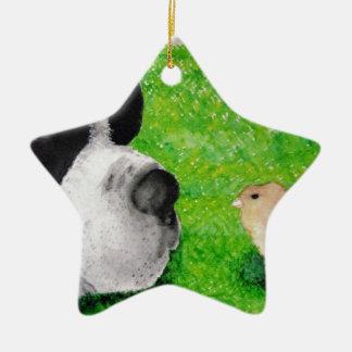 Saint Bernard and Baby Chick Christmas Ornaments