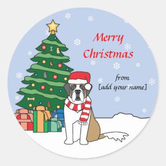 Saint Bernard and Christmas Tree Classic Round Sticker