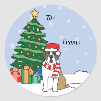 Saint Bernard and Christmas Tree Round Sticker