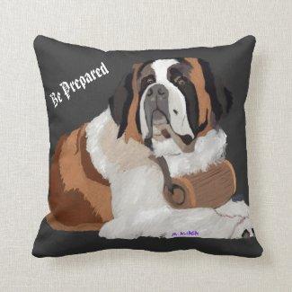 Saint Bernard and Keg: Be Prepared Throw Pillow