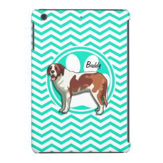 Saint Bernard; Aqua Green Chevron iPad Mini Cases