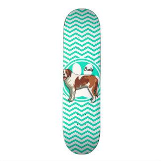 Saint Bernard; Aqua Green Chevron Skateboard Deck
