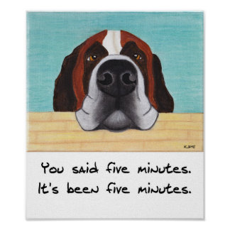 Saint Bernard Art Print - Time for walkies