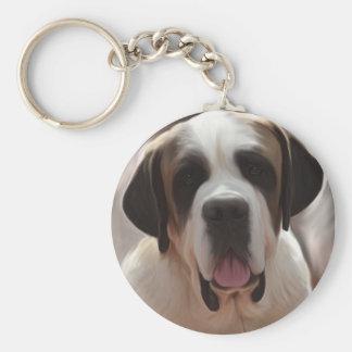 Saint Bernard Basic Round Button Keychain