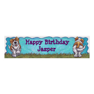 Saint Bernard Birthday Banner Poster
