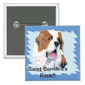 Saint Bernard - Blue w/ White Diamond Design Button
